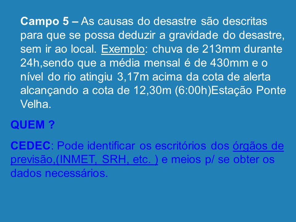Descrição da Área Afetada 5 - Causas do Desastre- Descrição do evento e suas características Secretaria Nacional de Defesa Civil - SEDEC Esplanada dos