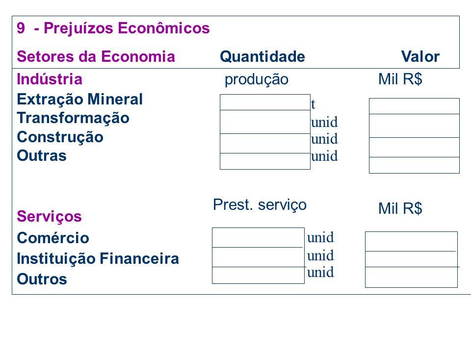 9 - Prejuízos Econômicos Setores da Economia Quantidade Valor Agricultura Grãos/Cereais/leguminosa Fruticultura Horticultura Silvicultura/Extrativismo