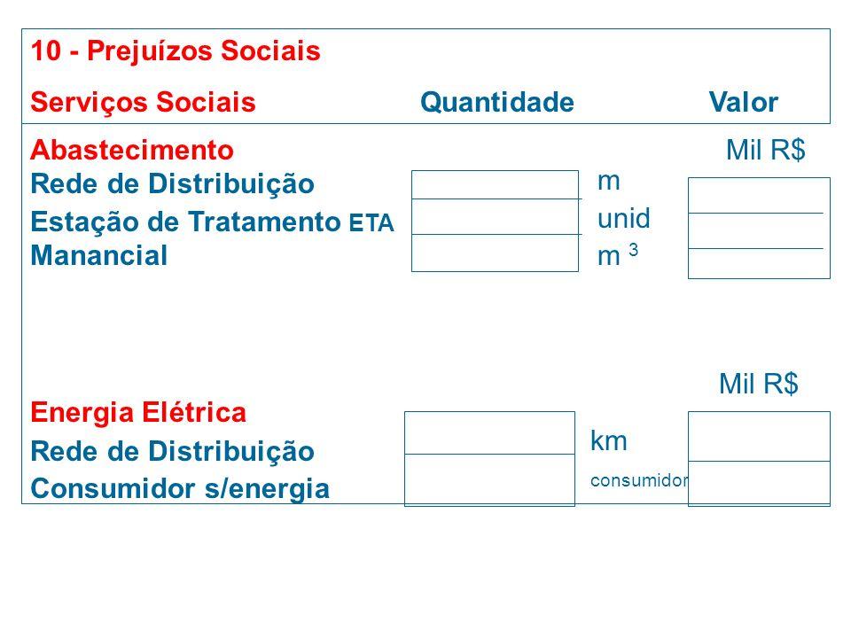 Campo 9 - Os prejuízos econômicos devem ser calculados pela produção estimada,durante a normalidade. produção agrícola/pecuária = EMATER, Sindicato Ru
