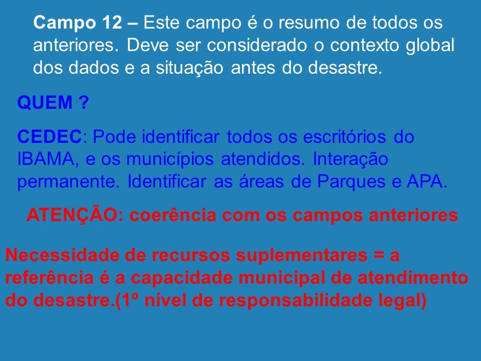 12 - Avaliação Conclusiva sobre a intensidade do Desastre Ponderação CRITÉRIOS AGRAVANTES Importância Desastres Secundários Despreparo da DC Local Vul