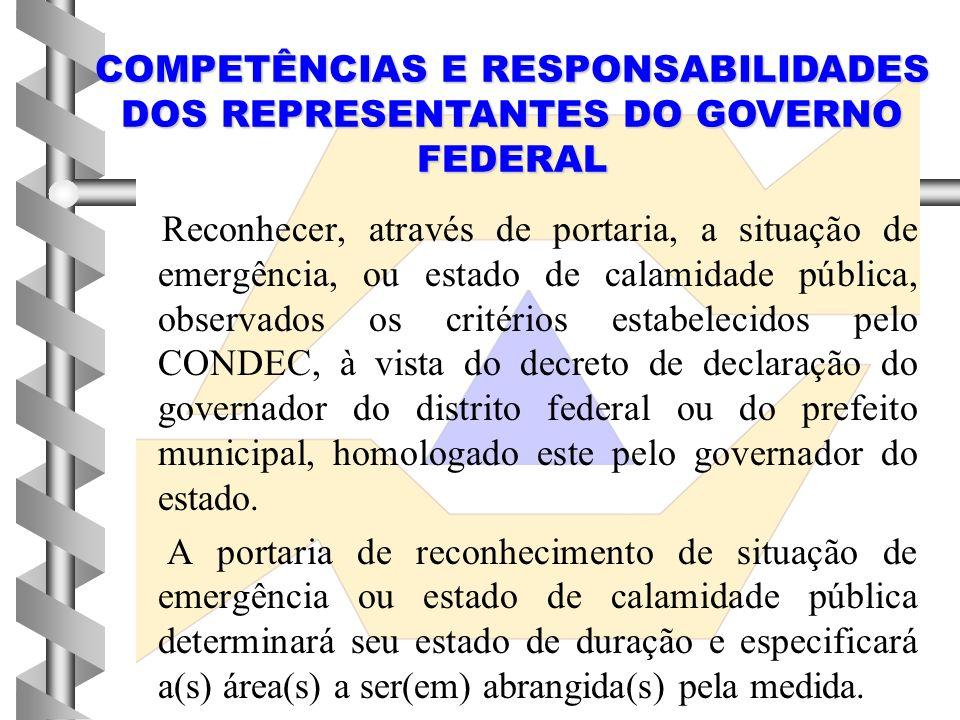 Homologar a situação de emergência ou estado de calamidade pública, se e quando necessário, de acordo com os critérios estabelecidos pelo CONDEC. COMP