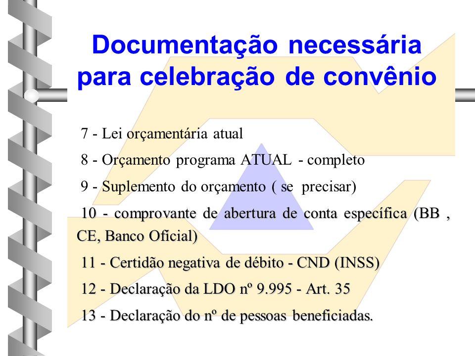 1 - Ofício encaminhado o pleito 2 - Plano de trabalho 3 - Projeto Básico 4 - Documentos do prefeito ( termo de posse, CI, CPF, e endereço residencial
