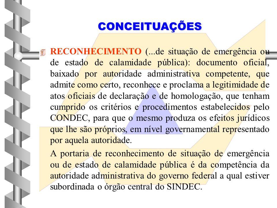 4 4 HOMOLOGAÇÃO (...de situação de emergência ou de estado de calamidade pública):documento oficial de aprovação e confirmação, baixado por autoridade