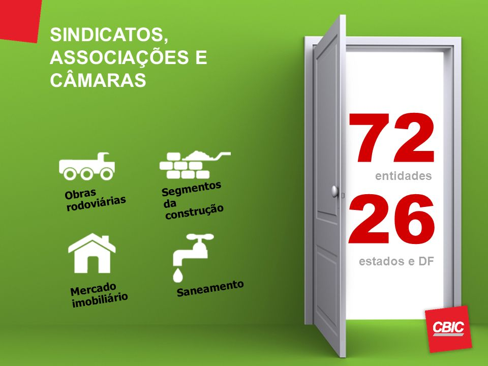 72 26 entidades estados e DF Mercado imobiliário Saneamento Obras rodoviárias Segmentos da construção SINDICATOS, ASSOCIAÇÕES E CÂMARAS