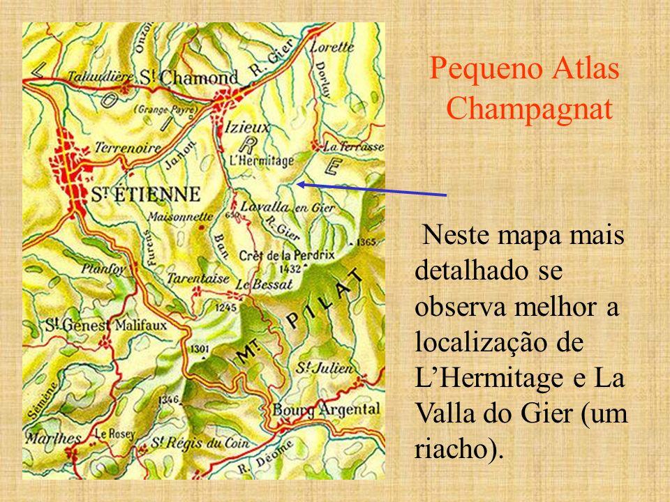 Neste mapa mais detalhado se observa melhor a localização de LHermitage e La Valla do Gier (um riacho). Pequeno Atlas Champagnat