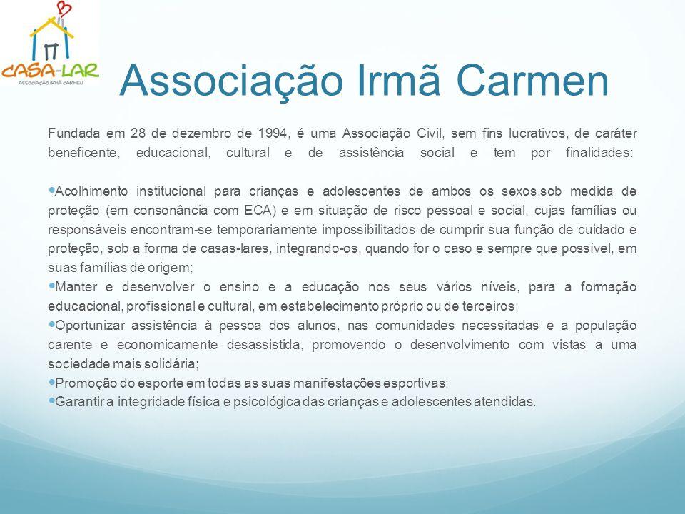 Associação Irmã Carmen Fundada em 28 de dezembro de 1994, é uma Associação Civil, sem fins lucrativos, de caráter beneficente, educacional, cultural e