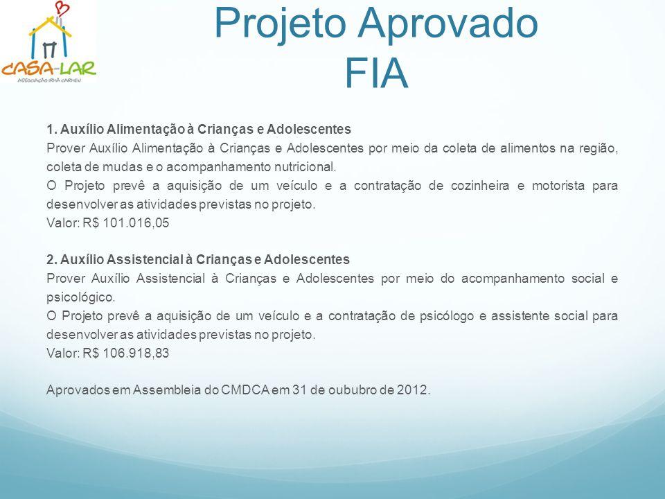 Apoie os Projetos da Casa Lar FIA – Fundo da Infância e Adolescência: 1.