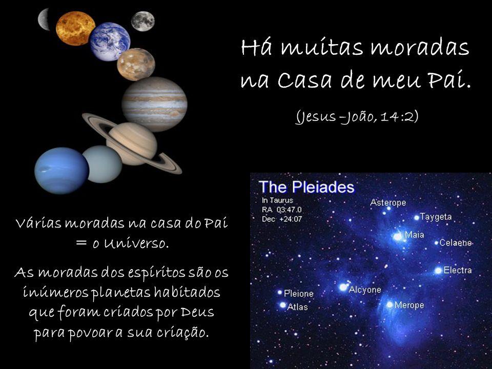 Há muitas moradas na Casa de meu Pai. (Jesus –João, 14:2) Várias moradas na casa do Pai = o Universo. As moradas dos espíritos são os inúmeros planeta
