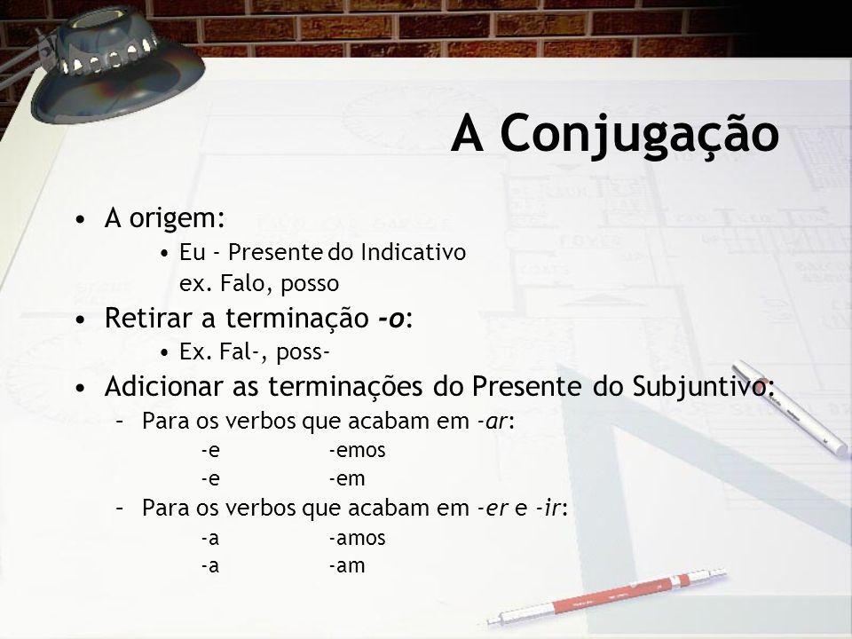 A Conjugação A origem: Eu - Presente do Indicativo ex. Falo, posso Retirar a terminação -o: Ex. Fal-, poss- Adicionar as terminações do Presente do Su