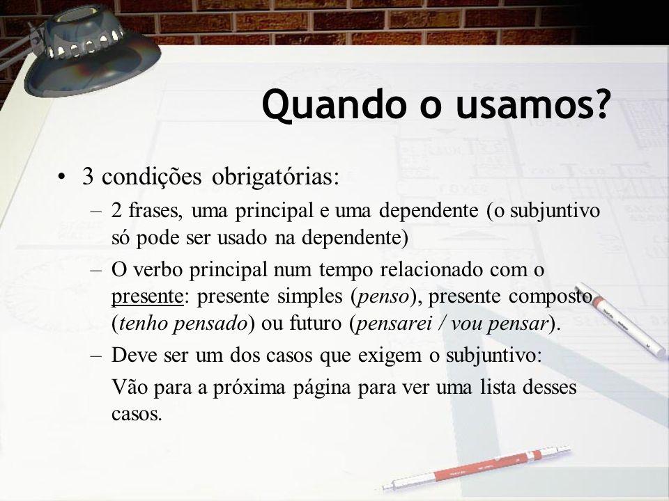 Casos que exigem Subjuntivo Verbo de desejo / ordem / dúvida / sentimento / negação / sugestão / receio...