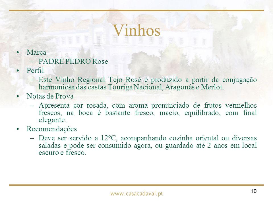 10 Vinhos Marca –PADRE PEDRO Rose Perfil –Este Vinho Regional Tejo Rosé é produzido a partir da conjugação harmoniosa das castas Touriga Nacional, Ara