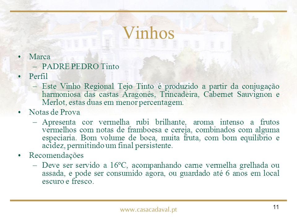 11 Vinhos Marca –PADRE PEDRO Tinto Perfil –Este Vinho Regional Tejo Tinto é produzido a partir da conjugação harmoniosa das castas Aragonês, Trincadei
