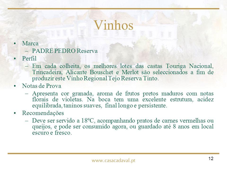 12 Vinhos Marca –PADRE PEDRO Reserva Perfil –Em cada colheita, os melhores lotes das castas Touriga Nacional, Trincadeira, Alicante Bouschet e Merlot