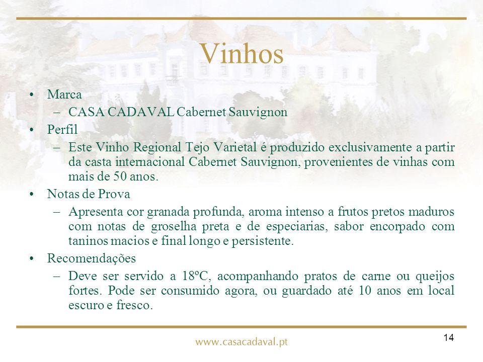 14 Vinhos Marca –CASA CADAVAL Cabernet Sauvignon Perfil –Este Vinho Regional Tejo Varietal é produzido exclusivamente a partir da casta internacional