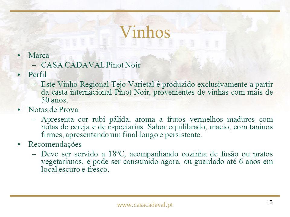 15 Vinhos Marca –CASA CADAVAL Pinot Noir Perfil –Este Vinho Regional Tejo Varietal é produzido exclusivamente a partir da casta internacional Pinot No