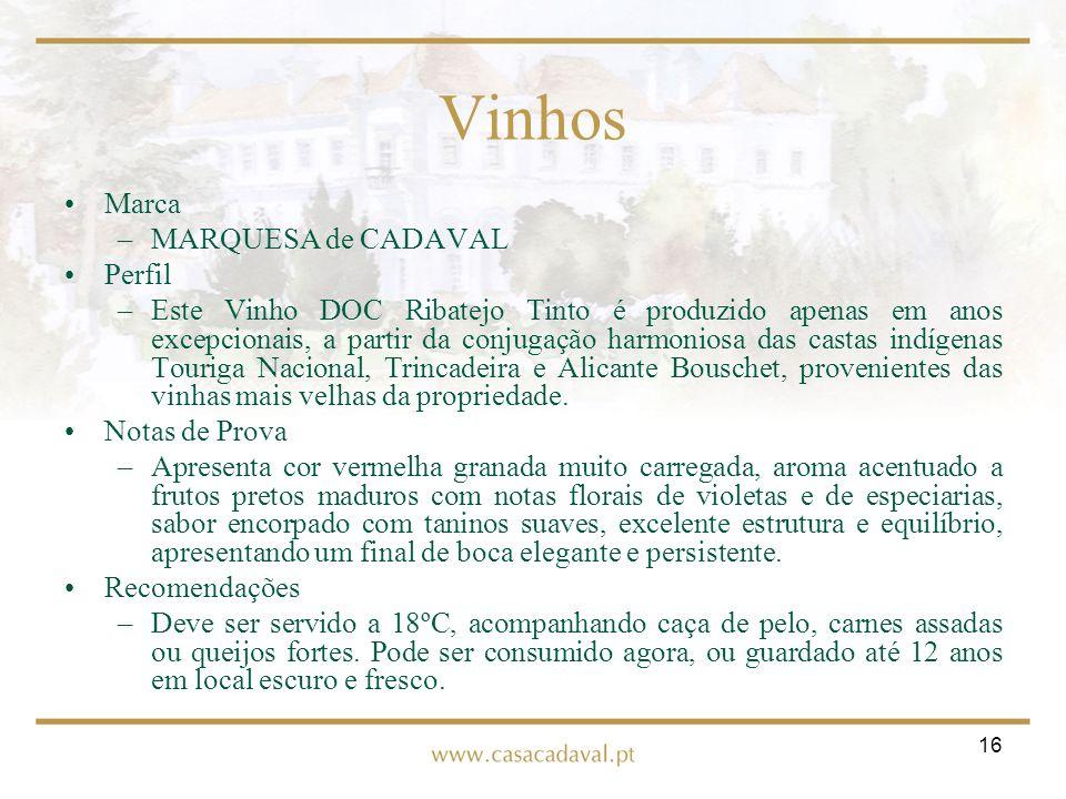 16 Vinhos Marca –MARQUESA de CADAVAL Perfil –Este Vinho DOC Ribatejo Tinto é produzido apenas em anos excepcionais, a partir da conjugação harmoniosa
