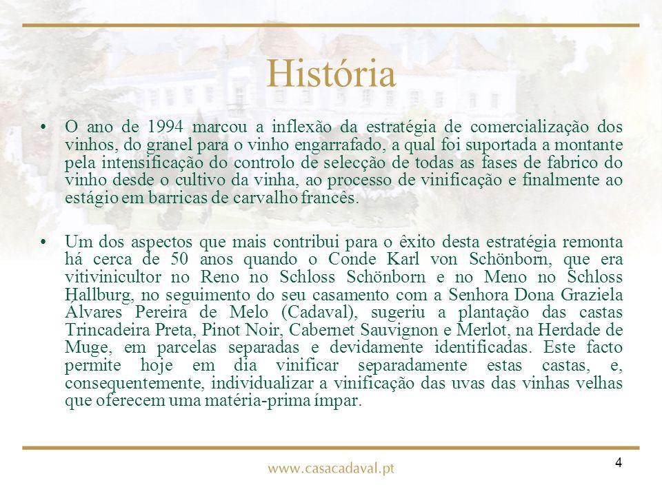 5 História Em 1997 iniciou-se um programa de modernização tecnológica da adega, tendo como objectivo optimizar o potencial da matéria-prima, permitindo desde então produzir vinhos melhor adaptados às exigências dos mercados onde estão disponíveis.