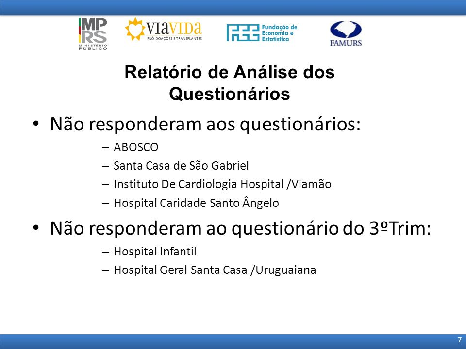 Não responderam aos questionários: – ABOSCO – Santa Casa de São Gabriel – Instituto De Cardiologia Hospital /Viamão – Hospital Caridade Santo Ângelo N