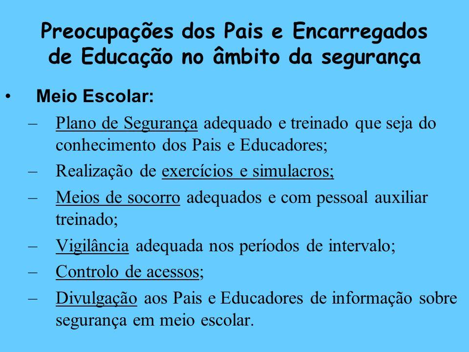 Preocupações dos Pais e Encarregados de Educação no âmbito da segurança Meio Escolar: –Plano de Segurança adequado e treinado que seja do conhecimento