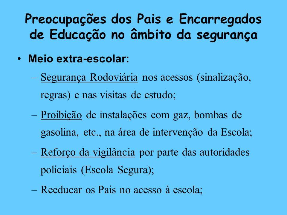 Preocupações dos Pais e Encarregados de Educação no âmbito da segurança Meio extra-escolar: –Segurança Rodoviária nos acessos (sinalização, regras) e