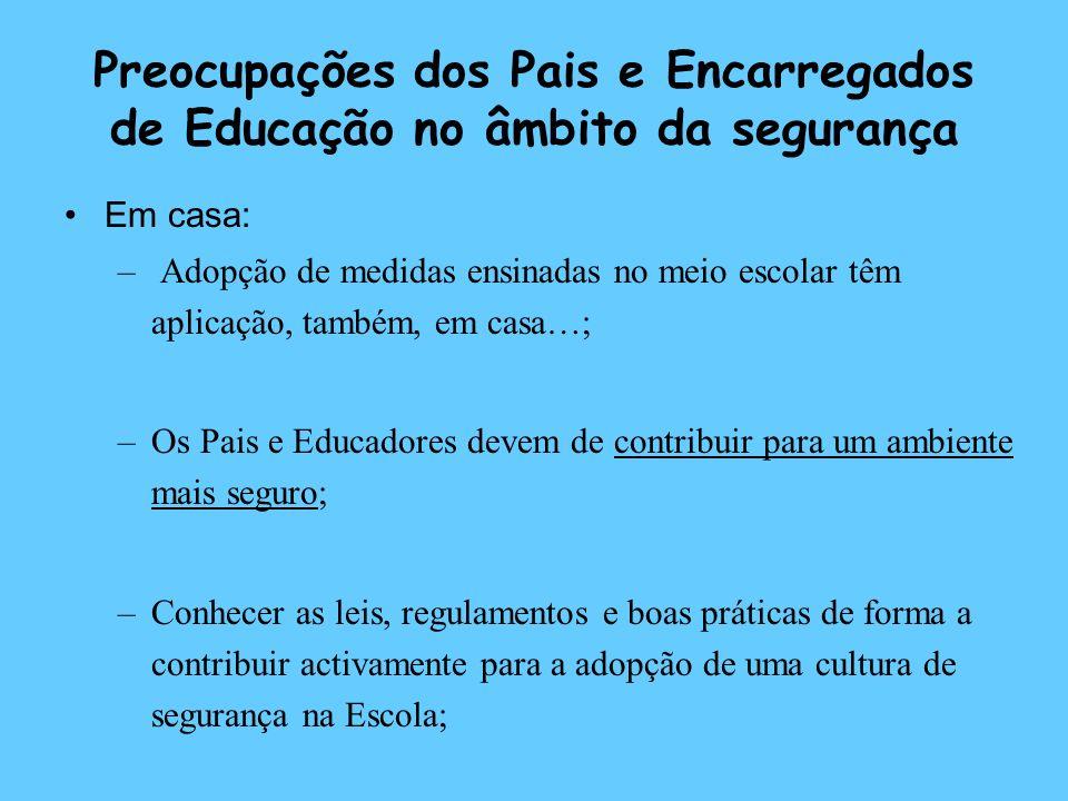 Preocupações dos Pais e Encarregados de Educação no âmbito da segurança Em casa: – Adopção de medidas ensinadas no meio escolar têm aplicação, também,