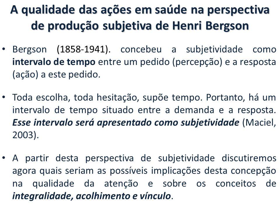 A qualidade das ações em saúde na perspectiva de produção subjetiva de Henri Bergson Bergson (1858-1941).