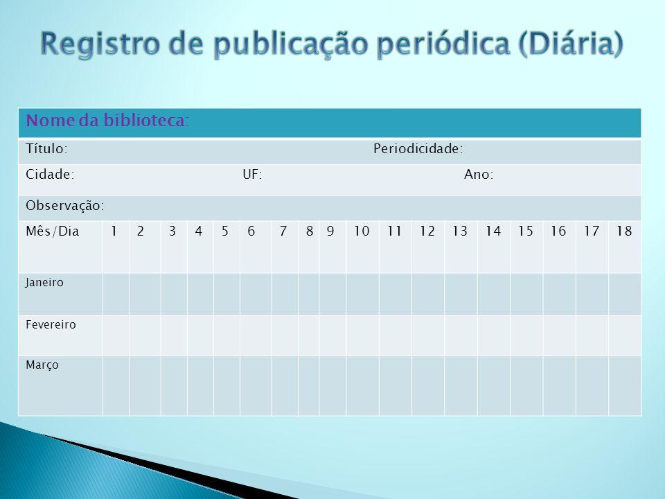 Nome da biblioteca: Título: Periodicidade: Cidade: UF: Ano: Observação: Mês/Dia123456789101112131415161718 Janeiro Fevereiro Março