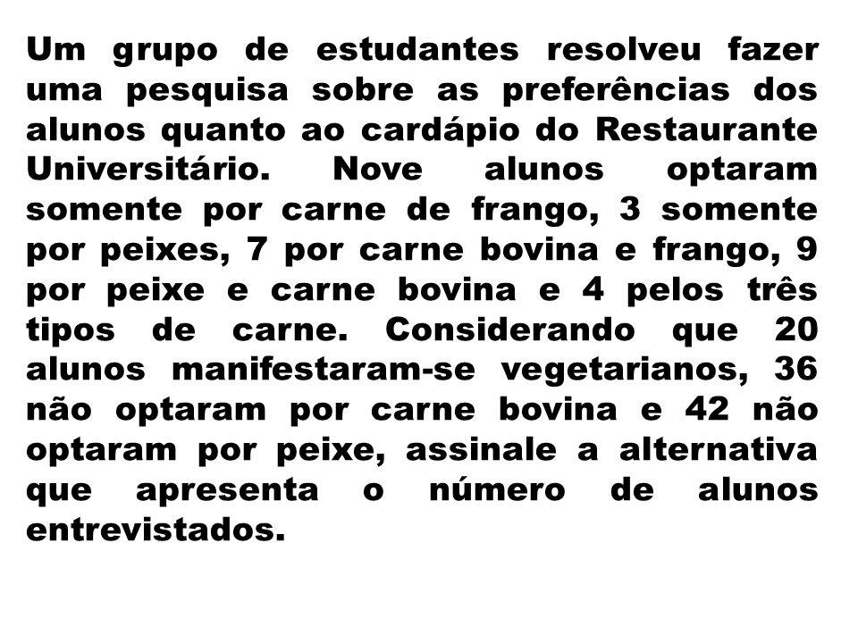 Um grupo de estudantes resolveu fazer uma pesquisa sobre as preferências dos alunos quanto ao cardápio do Restaurante Universitário. Nove alunos optar