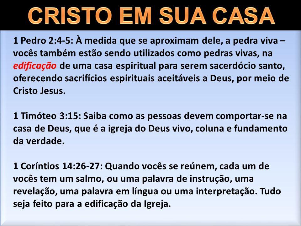 edificação 1 Pedro 2:4-5: À medida que se aproximam dele, a pedra viva – vocês também estão sendo utilizados como pedras vivas, na edificação de uma c
