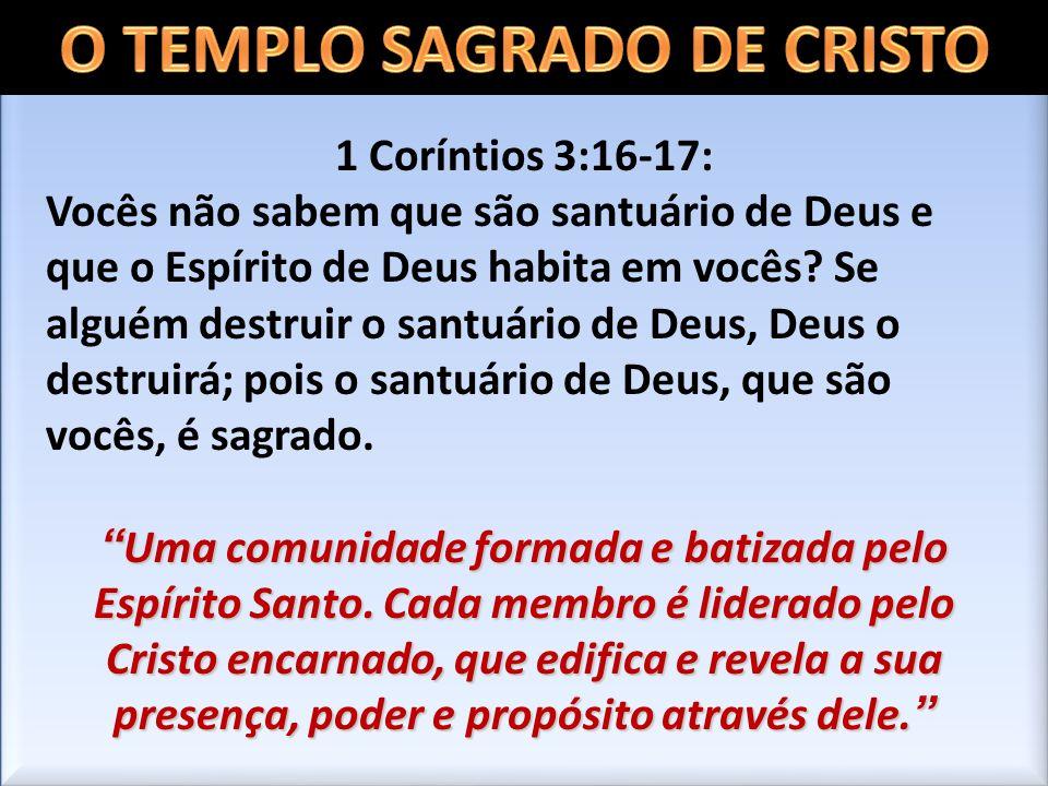 1 Coríntios 3:16-17: Vocês não sabem que são santuário de Deus e que o Espírito de Deus habita em vocês? Se alguém destruir o santuário de Deus, Deus