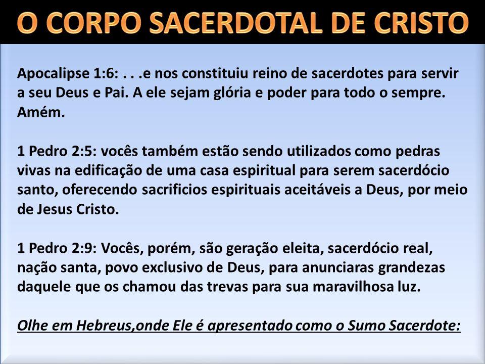 Apocalipse 1:6:...e nos constituiu reino de sacerdotes para servir a seu Deus e Pai. A ele sejam glória e poder para todo o sempre. Amém. 1 Pedro 2:5: