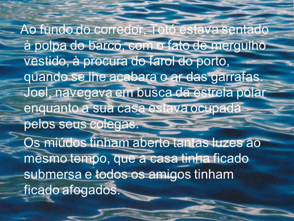 Ao fundo do corredor, Totó estava sentado à polpa do barco, com o fato de mergulho vestido, à procura do farol do porto, quando se lhe acabara o ar da