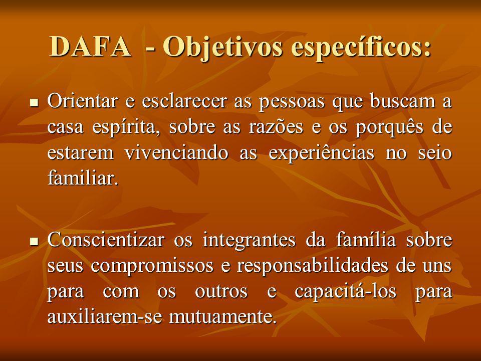 DAFA - Objetivos específicos: Orientar e esclarecer as pessoas que buscam a casa espírita, sobre as razões e os porquês de estarem vivenciando as expe