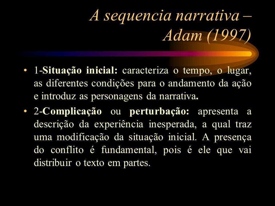 A sequencia narrativa – Adam (1997) 1-Situação inicial: caracteriza o tempo, o lugar, as diferentes condições para o andamento da ação e introduz as p
