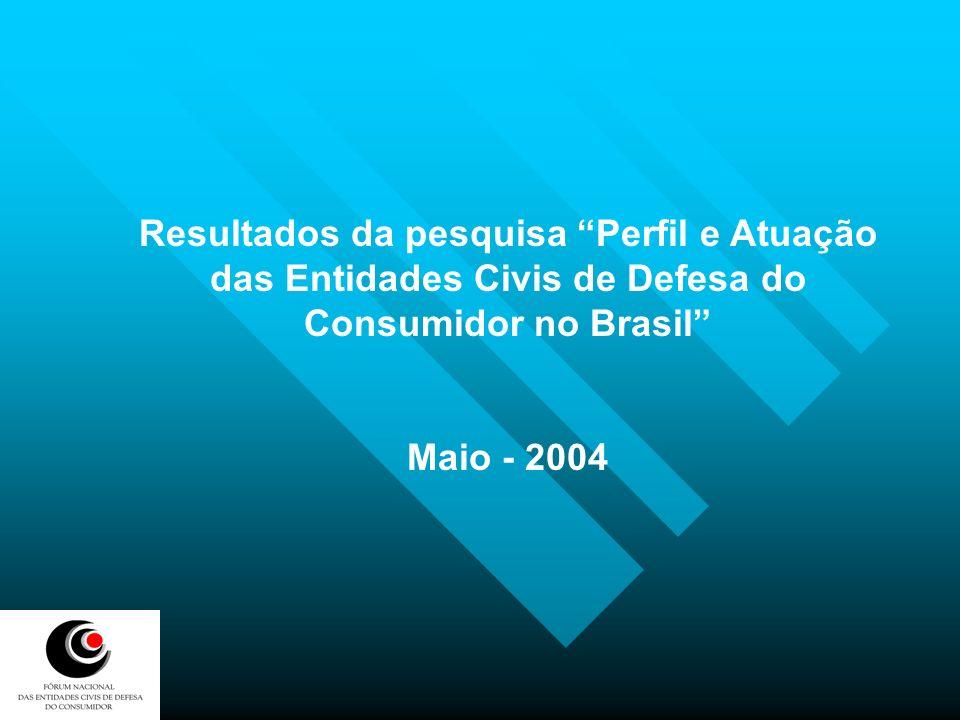 Em 12 dos 26 Estados Brasileiros (46%) foram identificadas entidades civis de defesa do consumidor, sendo assim distribuídas: 15 na região sul 8 na região sudeste 10 na região nordeste 2 na região centro-oeste 4 na região norte