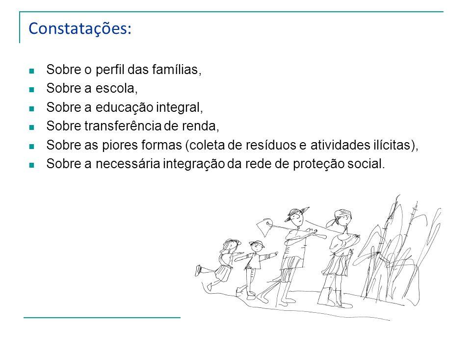Constatações: Sobre o perfil das famílias, Sobre a escola, Sobre a educação integral, Sobre transferência de renda, Sobre as piores formas (coleta de