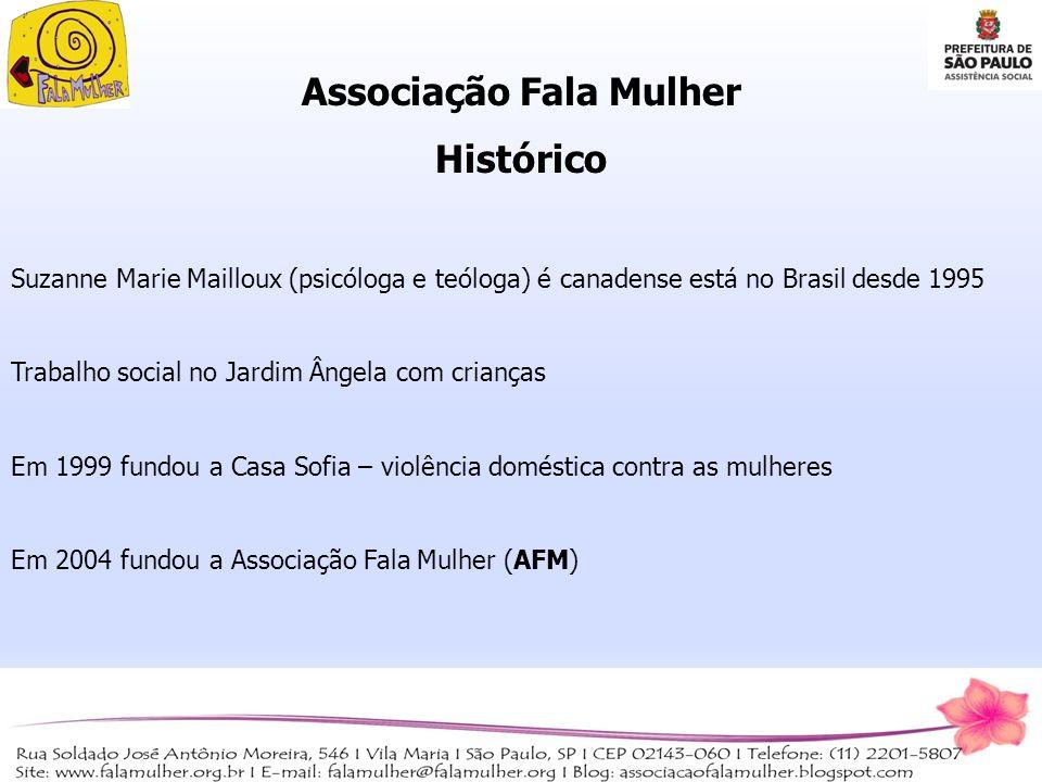 Associação Fala Mulher Histórico Suzanne Marie Mailloux (psicóloga e teóloga) é canadense está no Brasil desde 1995 Trabalho social no Jardim Ângela c