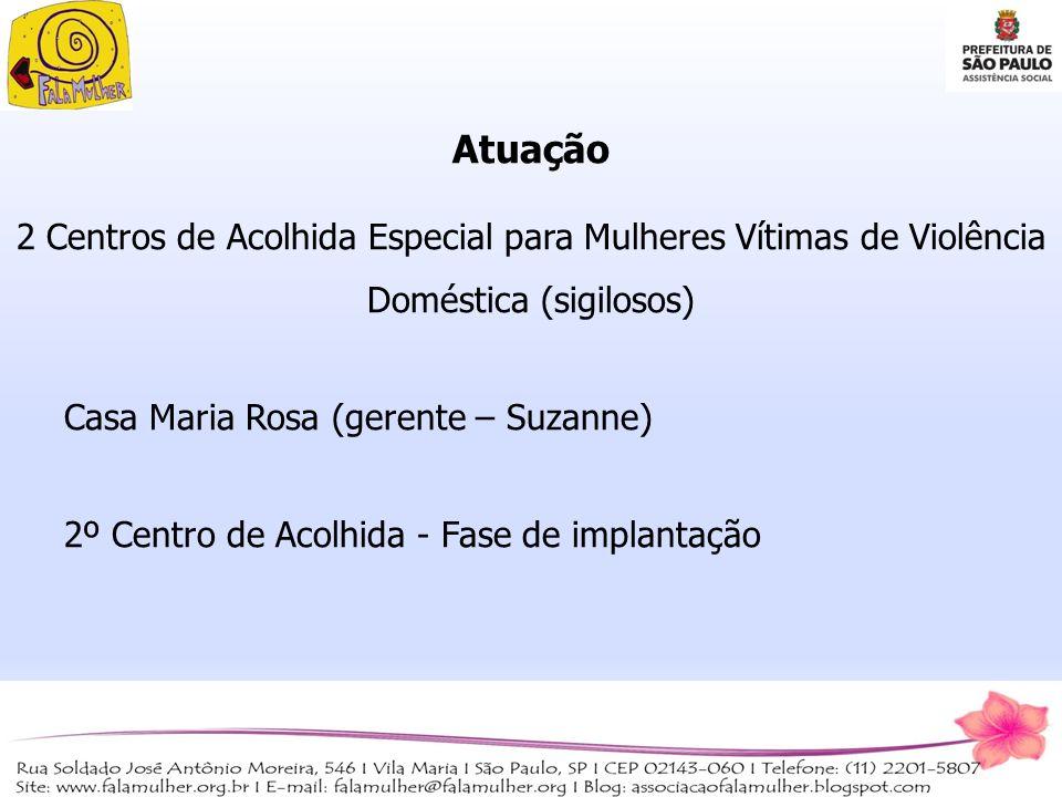 Atuação 2 Centros de Acolhida Especial para Mulheres Vítimas de Violência Doméstica (sigilosos) Casa Maria Rosa (gerente – Suzanne) 2º Centro de Acolh