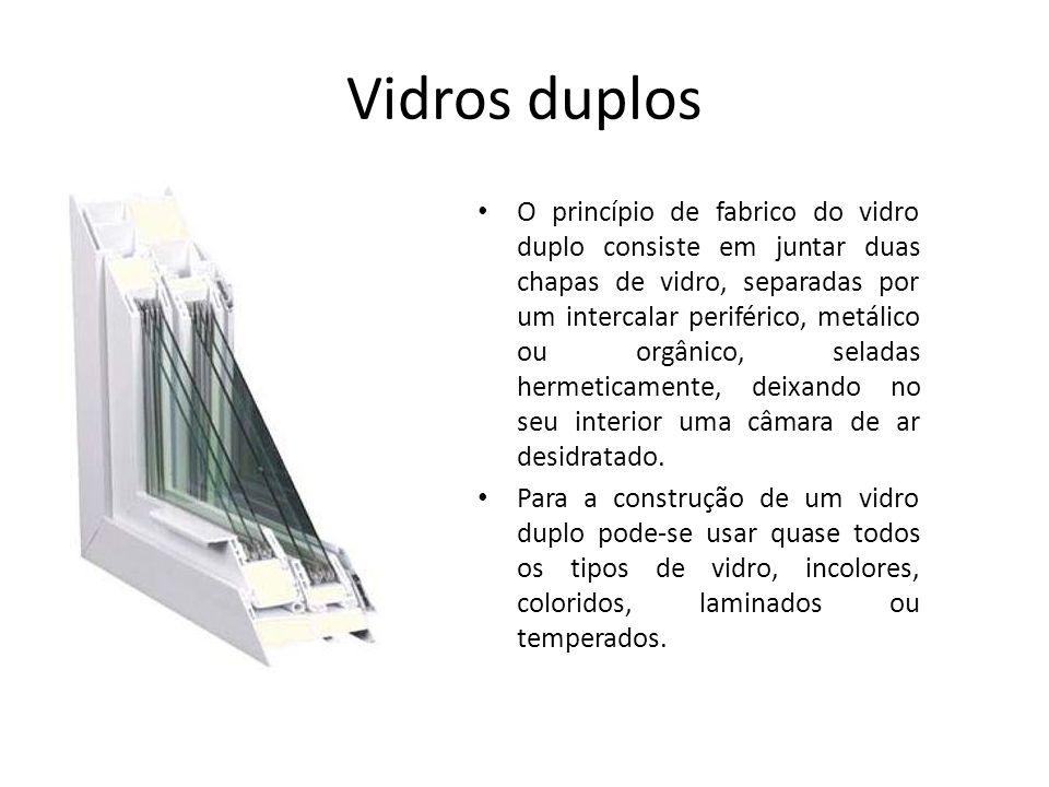 Vidros duplos O princípio de fabrico do vidro duplo consiste em juntar duas chapas de vidro, separadas por um intercalar periférico, metálico ou orgân