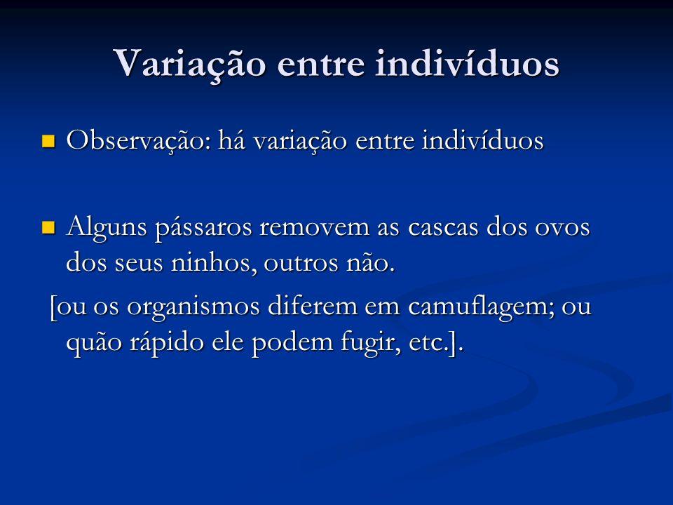 A variação afeta o sucesso reprodutivo Inferência: a variação (i.e., diferença entre organismos) influencia na sua sobrevivencia e reprodução.