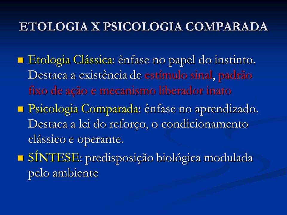 NOVOS CONCEITOS Aptidão Abrangente Aptidão Abrangente Teoria dos Jogos Teoria dos Jogos Originaram duas novas áreas: Ecologia Comportamental (herdeira da Etologia) Ecologia Comportamental (herdeira da Etologia) Psicologia Evolutiva (biologia evolutiva + Psico- logia Cognitiva) Psicologia Evolutiva (biologia evolutiva + Psico- logia Cognitiva)