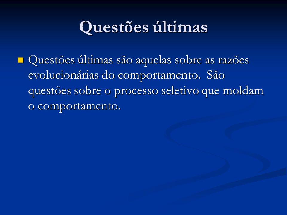 Questões últimas Exemplos de questões últimas : Exemplos de questões últimas : Qual o propósito do comportamento.