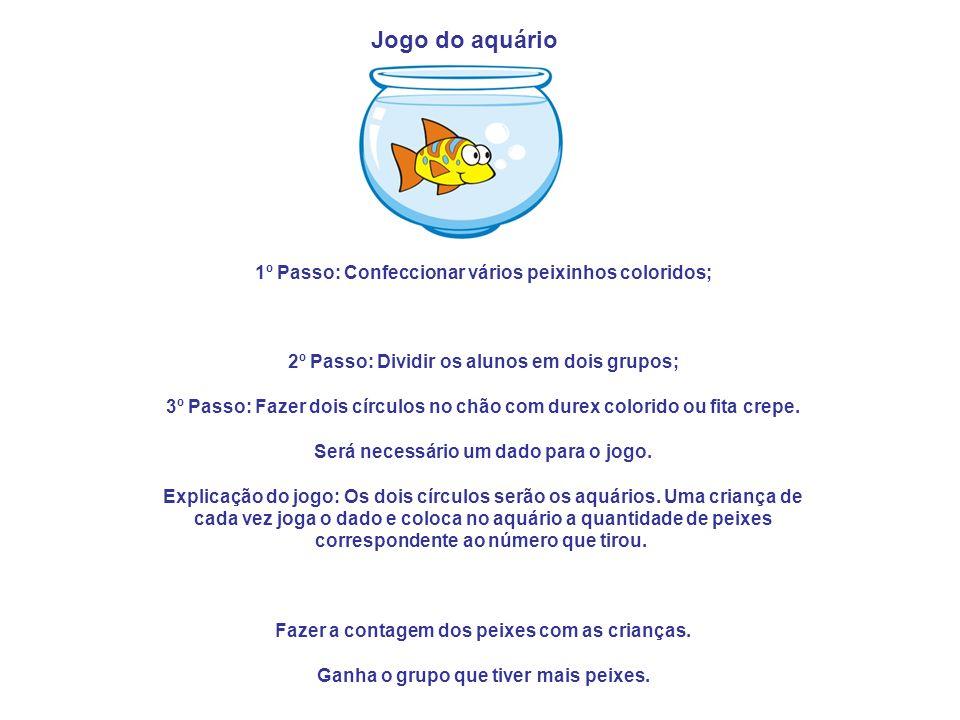 . 1º Passo: Confeccionar vários peixinhos coloridos; 2º Passo: Dividir os alunos em dois grupos; 3º Passo: Fazer dois círculos no chão com durex color