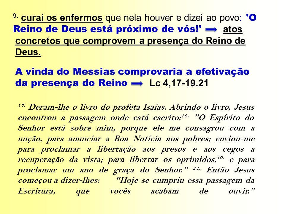 A vinda do Messias comprovaria a efetivação da presença do Reino Lc 4,17-19.21 9. curai os enfermos que nela houver e dizei ao povo: 'O Reino de Deus