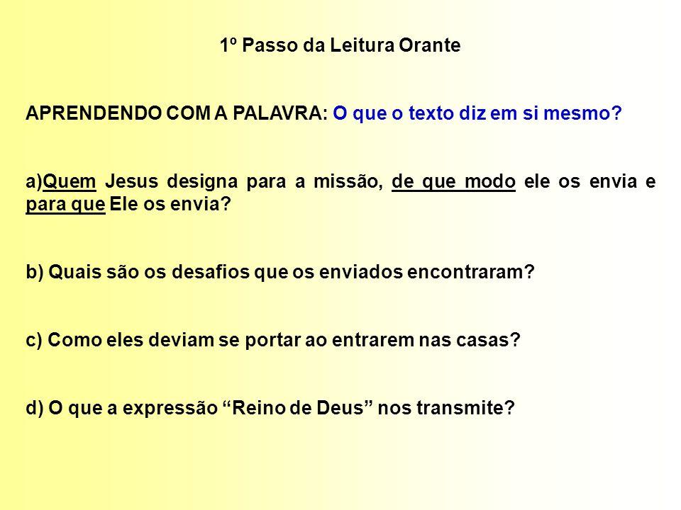 1º Passo da Leitura Orante APRENDENDO COM A PALAVRA: O que o texto diz em si mesmo? a)Quem Jesus designa para a missão, de que modo ele os envia e par