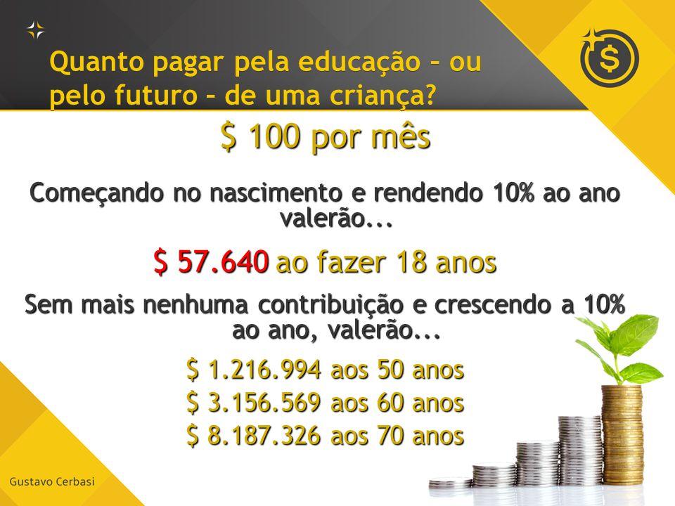 Quanto pagar pela educação – ou pelo futuro – de uma criança? $ 100 por mês Começando no nascimento e rendendo 10% ao ano valerão... $ 57.640 ao fazer