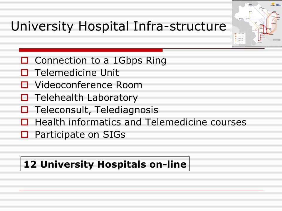 University Hospital Infra-structure Connection to a 1Gbps Ring Telemedicine Unit Videoconference Room Telehealth Laboratory Teleconsult, Telediagnosis Health informatics and Telemedicine courses Participate on SIGs 12 University Hospitals on-line
