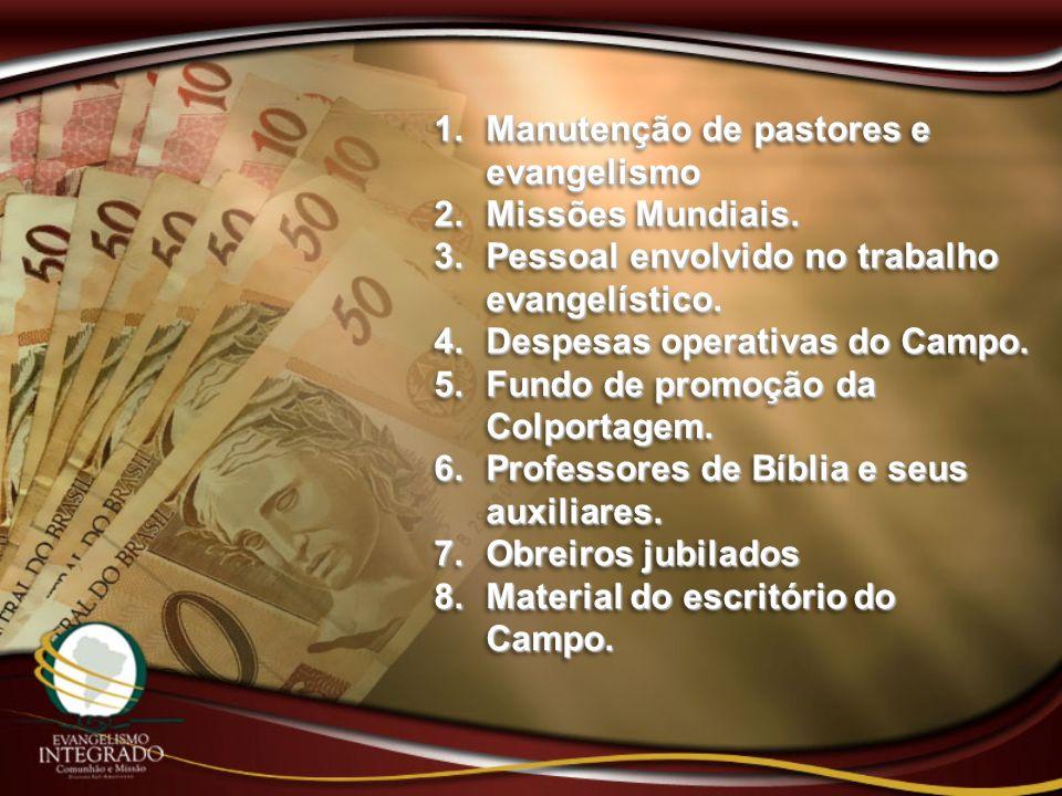 1. Manutenção de pastores e evangelismo 2. Missões Mundiais. 3. Pessoal envolvido no trabalho evangelístico. 4. Despesas operativas do Campo. 5. Fundo