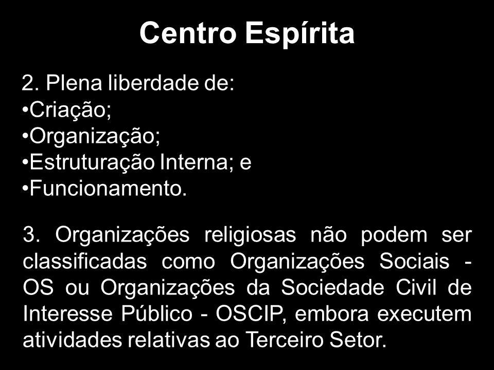 2.Plena liberdade de: Criação; Organização; Estruturação Interna; e Funcionamento.