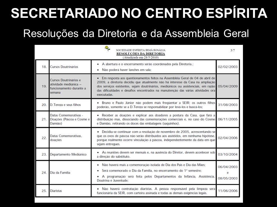 SECRETARIADO NO CENTRO ESPÍRITA Resoluções da Diretoria e da Assembleia Geral
